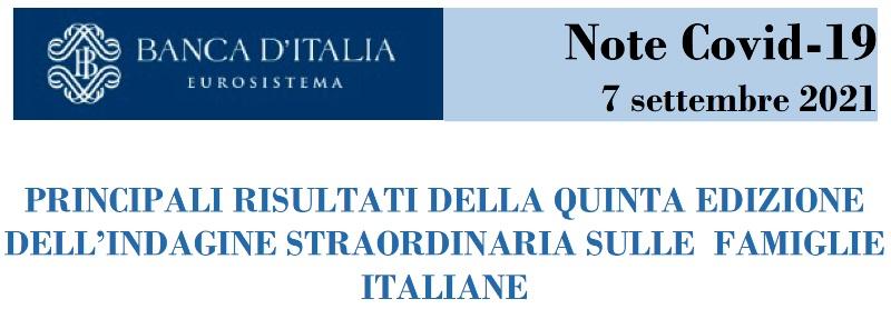 BANCA ITALIA QUINTA EDIZIONE DELL'INDAGINE STRAORDINARIA SULLE FAMIGLIE ITALIANE